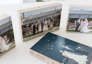Wedding Photos on Bamboo Blocks
